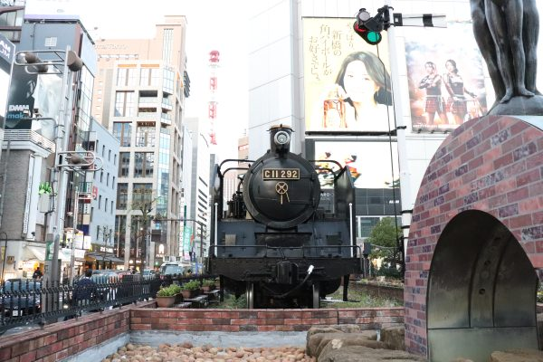 Steam locomotive front Shinbashi in Tokyo