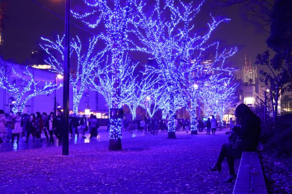 Tokyo Blue Grotto Christmas lights in Shibuya Japan landscape