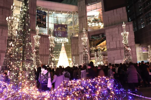 TOKYO, Christmas Lights at Caretta Shiodome Yellow