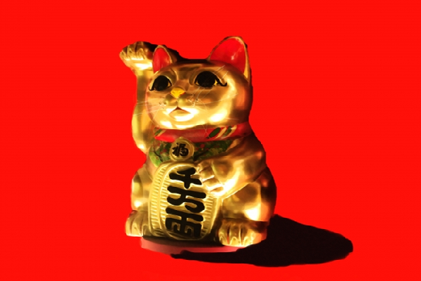 Gold Maneki Neko long arm