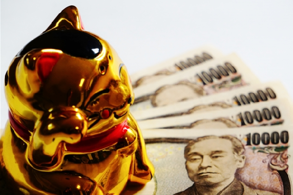 Gold Maneki Neko with Money