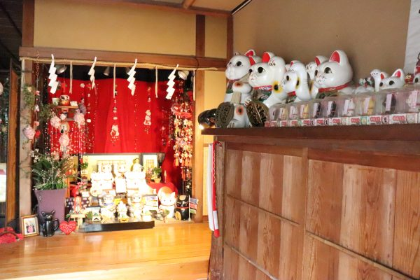 Imado shrine office lucky cat collections in Asakusa Japan