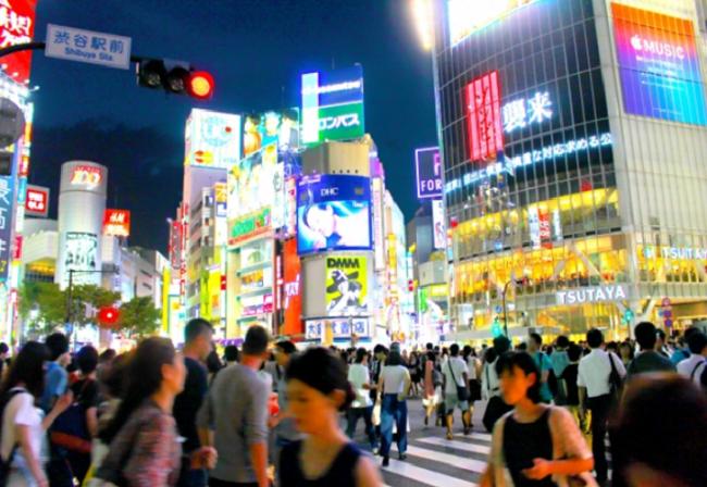 Shibuya Scramble crossing night Tokyo