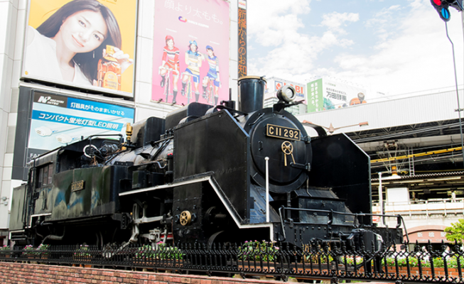 TOKYO Steam locomotive in front of Shinbashi station