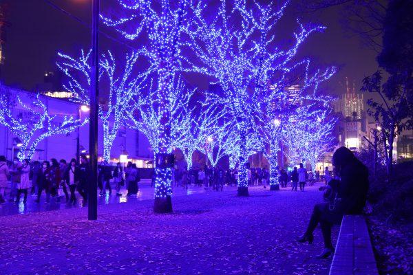 TOKYO Blue Grotto Christmas lights in Shibuya Japan (Ao-no-Dokutsu)
